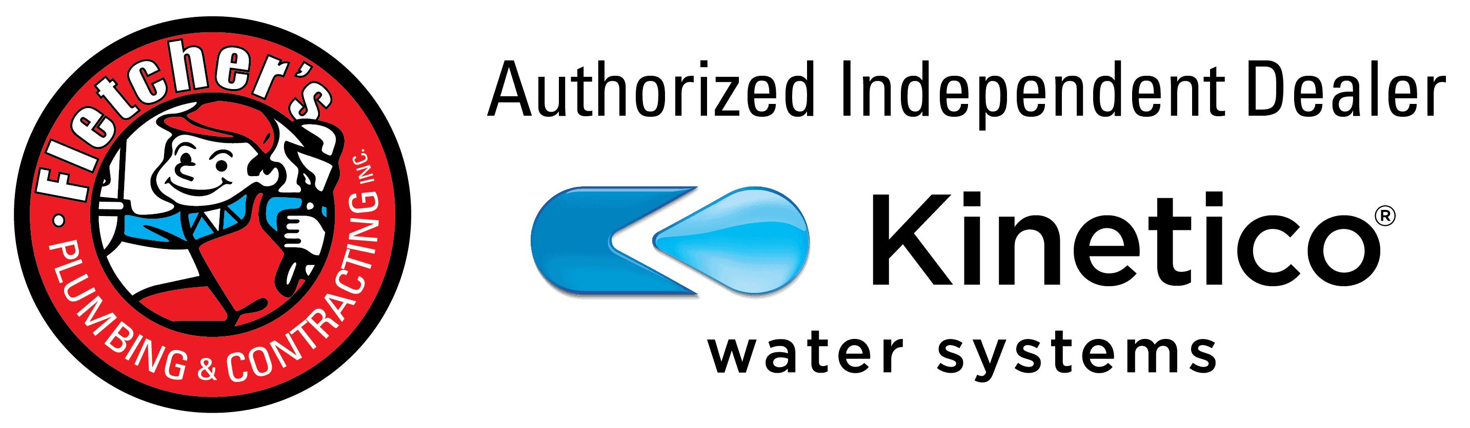 Fletcher's Plumbing & Contracting and Kinetico logos