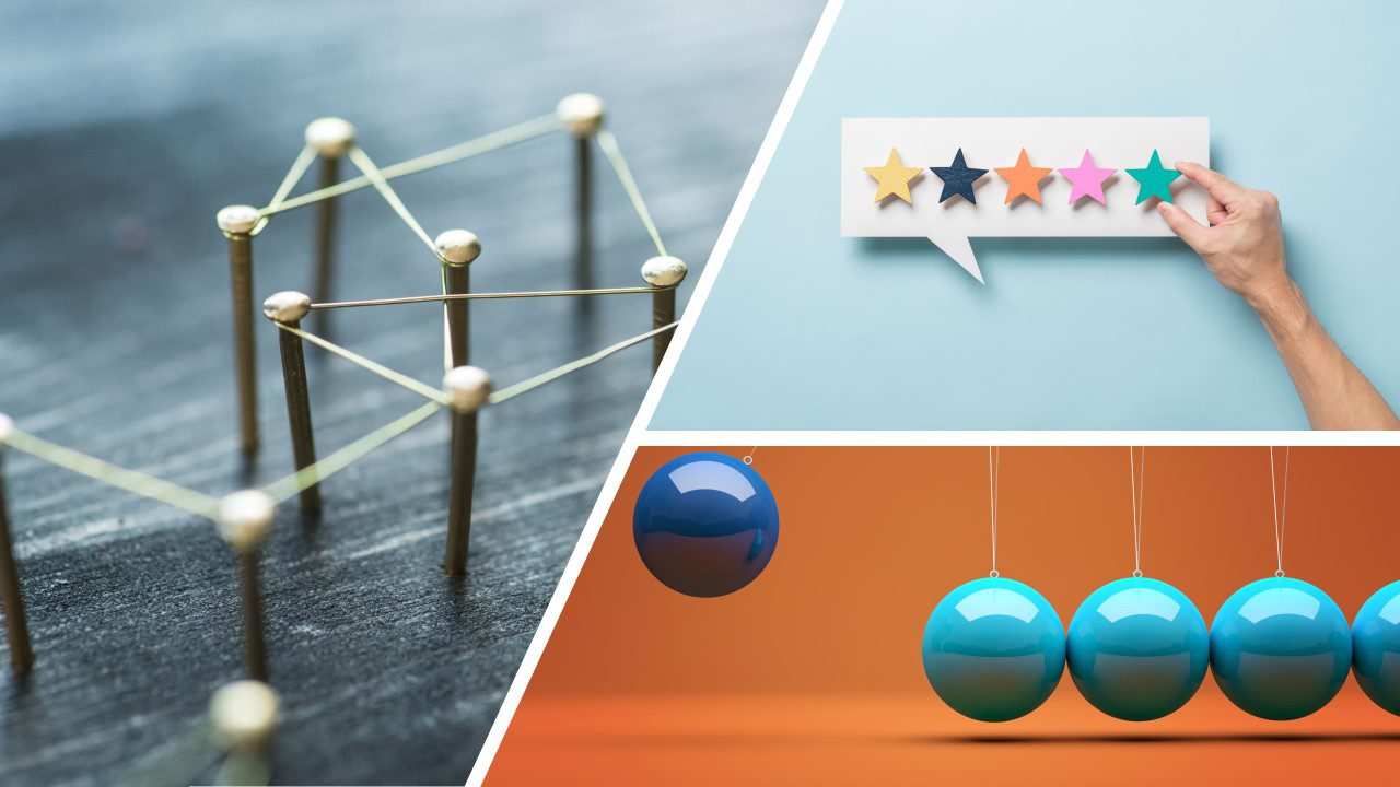 Decorative photo featuring: Web of wires connecting pins. Hand placing stars on a chat bubble (5 star review). A blue pendulum on an orange background with one of the balls being a darker blue than the rest.