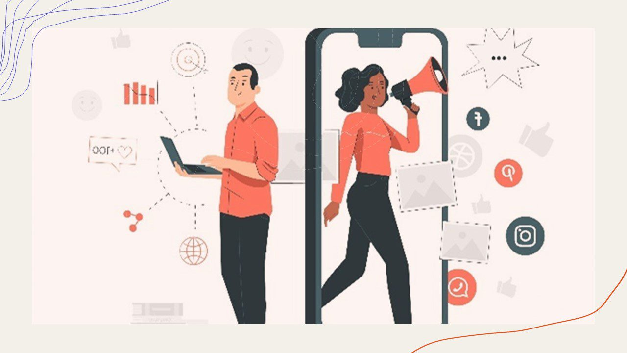 A cartoon image of a women coming out of a doorway that is an iphone while surrounded by social media icons. She carries a megaphone with a bubble next to it implying she's speaking out something. Next to her there is a man holding a laptop with analytics, charts, and graphs around him. They are both business professionals due to their clothing and how their using social media and the internet. This photo was chosen because to me it exemplifies being the change you want to see and being an example of empathy.