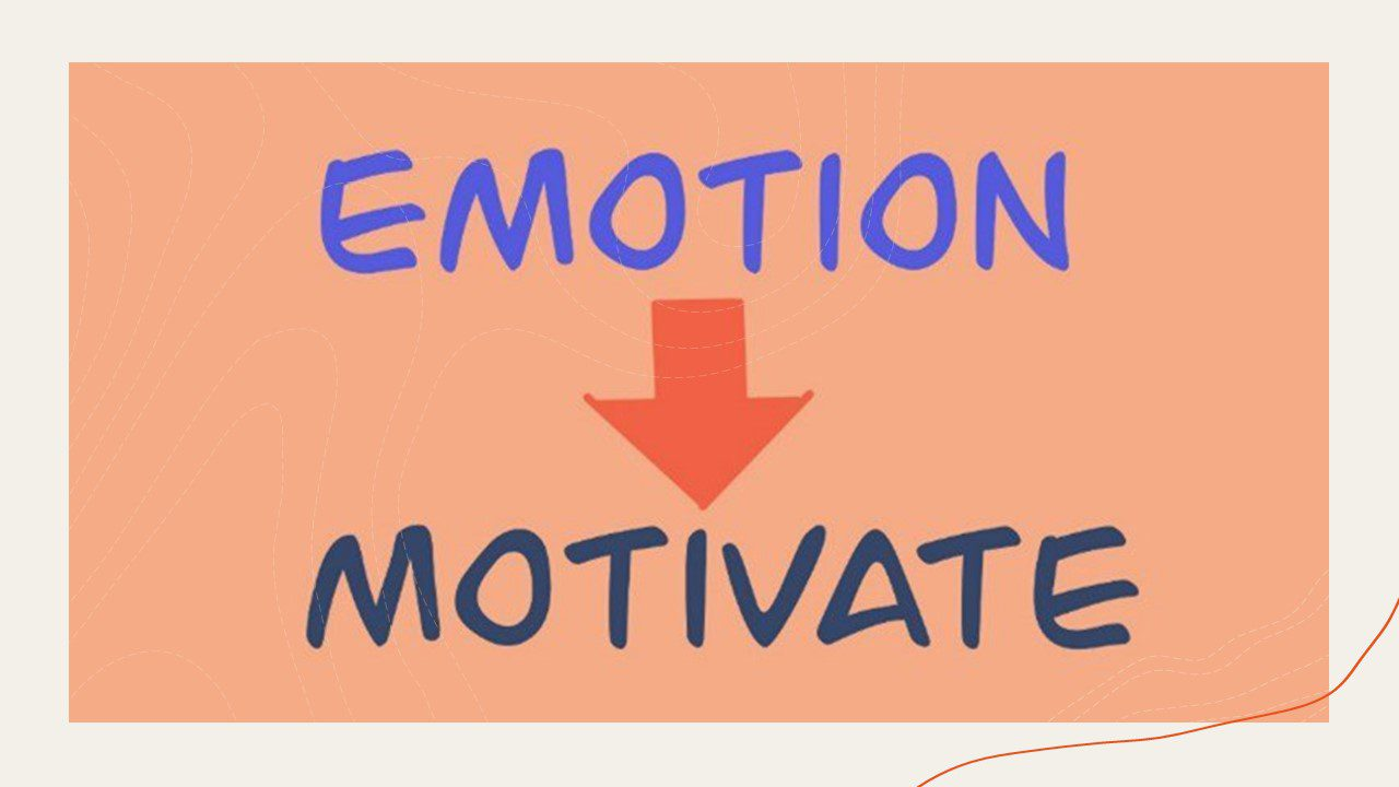"""Peach-colored background with two words on it: """"Emotion"""" and """"Motivate"""" are written in different shades of blue. """"Emotion"""" is written above """"Motivate"""" with a red arrow in between them pointing down. The arrow points from """"Emotion"""" to """"Motivate"""" to exemplify that a person's """"emotions"""" lead to their """"motivations."""""""