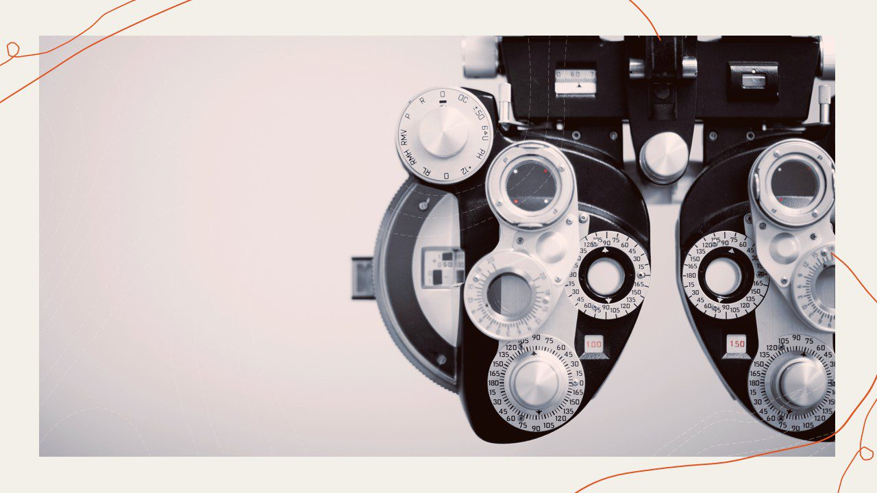 """This photo is of an optometrist's """"phoropter."""" The Phoropter is one of the tools used by optometrists to measure the determine the eyeglass prescription of the patient. In this instance it is being used to represent """"looking into your customers experience."""""""