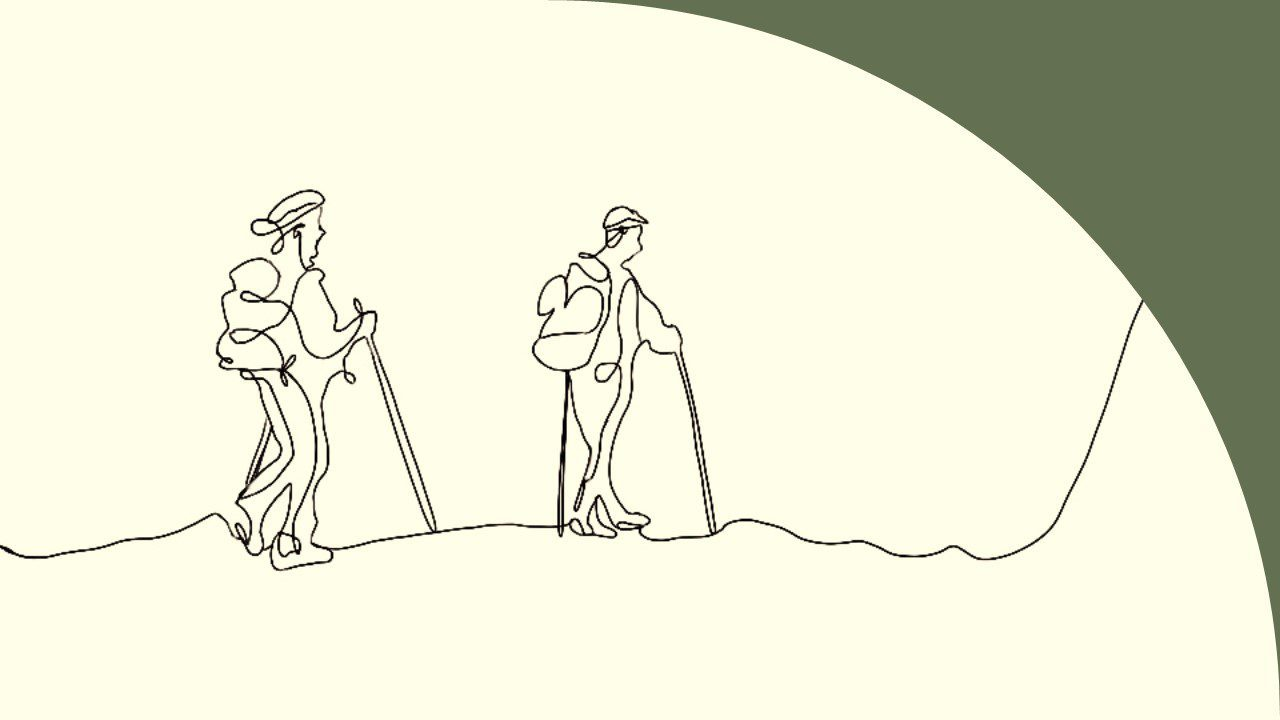 Hand drawn art. The style of the drawing is simplistic with using only one line to connect the characters of the image with their background. No color is used except in the background which is a warm beige color. The image is set on a hiking path with two hikers walking the path with backpacks. This image was drawn to represent the journey that those in sales and marketing embark on with their customers--side by side, together.