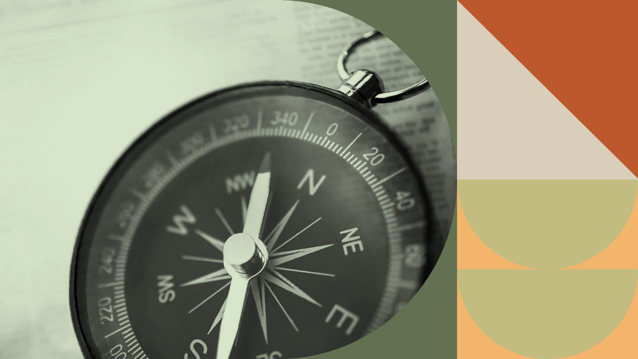 Decorative photo of a compass relating to marketing being a hike.