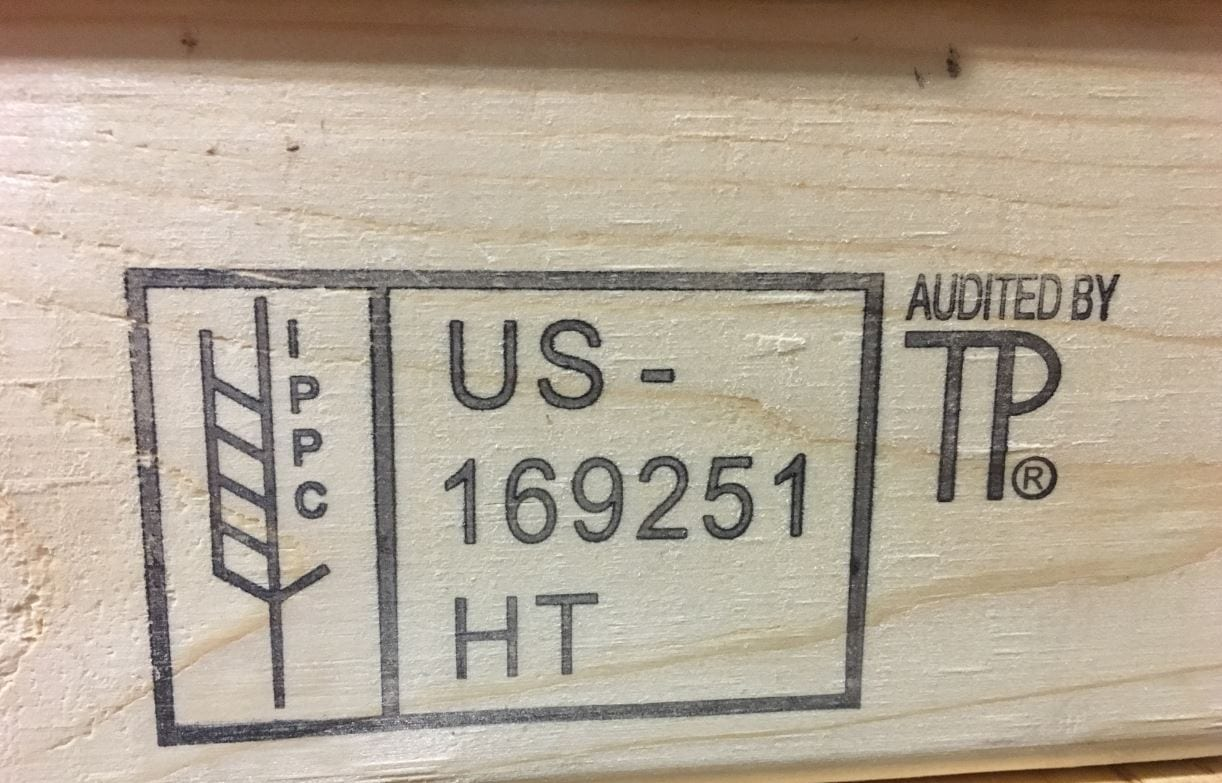 ISPM-15 Certification Stamp from IPPC - On all SharkCrates
