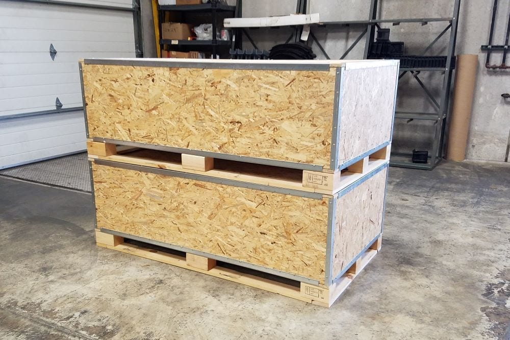 Shipping crates double stacked for shipment